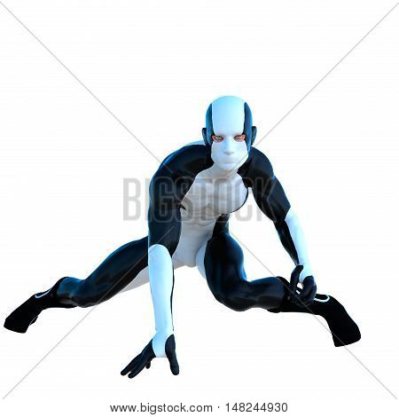 a young man in white and black super suit. It is almost lying down and put his right hand on the floor. 3D rendering, 3D illustration