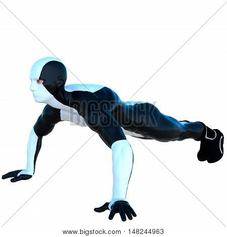 a young man in white and black super suit. Pushups. Left side. Latex. 3D rendering, 3D illustration