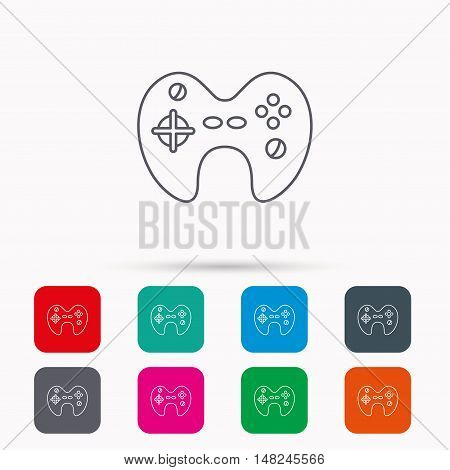 Joystick icon. Video game sign. Linear icons in squares on white background. Flat web symbols. Vector