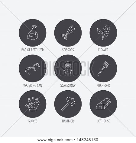 Hammer, hothouse and watering can icons. Bag of fertilizer, scissors and flower linear signs. Hammer, scarecrow and pitchfork flat line icons. Linear icons in circle buttons. Flat web symbols. Vector