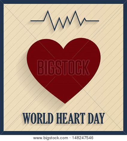 World Heart Day retro poster with heart beat line. Vector illustration.