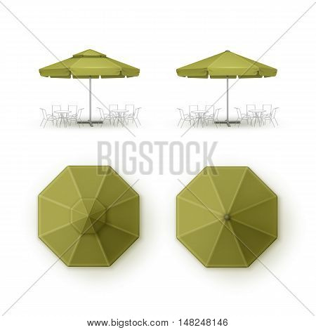 Vector Set of Green Blank Patio Outdoor  Market Beach Cafe Bar Pub Restaurant Round Umbrella Parasol  for Branding Top Side View Mock up Close up Isolated on Background.