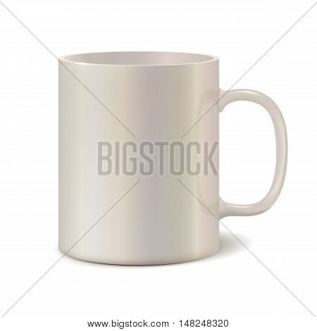 Light pearl ceramic mug for printing corporate logo. Cup isolated on white background. Vector 3D illustration
