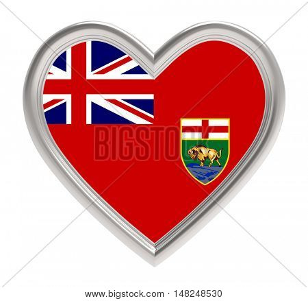 Manitoba flag in silver heart isolated on white background. 3D illustration.