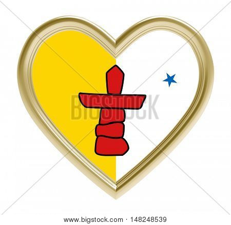 Nunavut flag in golden heart isolated on white background. 3D illustration.