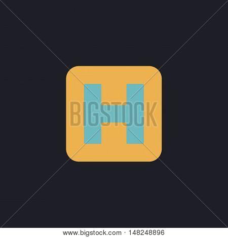 Helipad Color vector icon on dark background
