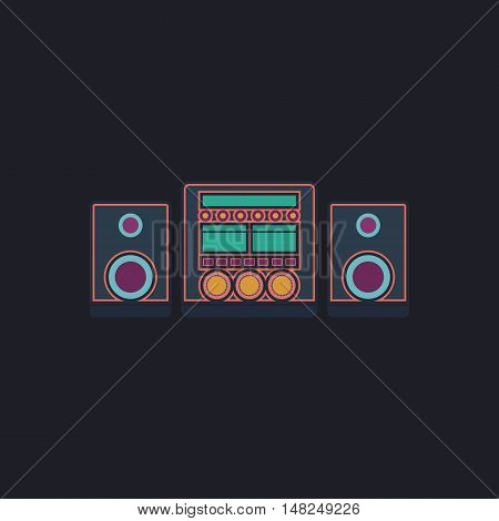 Sound System Color vector icon on dark background
