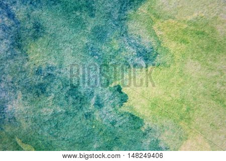 Macro Green with Blue Watercolour Textures 14