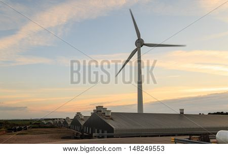 RAINWORTH ENGLAND - SEPTEMBER 18: Wind turbine Calor propane gas tanks and industrial units. In Rainworth England. On 18th September 2016.