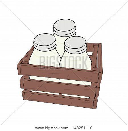 milk in glass bottles and wooden box. vector illustration