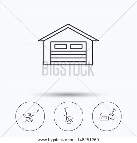 Mailbox, garage and fire hose icons. Trolley linear sign. Linear icons in circle buttons. Flat web symbols. Vector