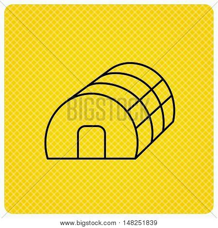 Greenhouse complex icon. Hothouse building sign. Warm house symbol. Linear icon on orange background. Vector