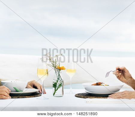 Mature Friends Fine Dining Outdoors Concept