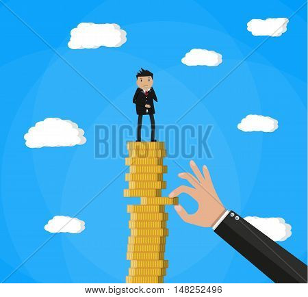 hand tries to pull coin out of coin stack with businessman. vector illustration in flat style
