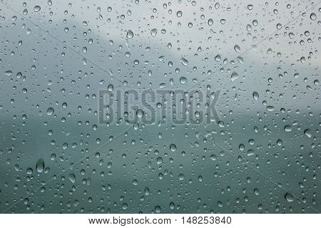 Natural blue water drop on window background