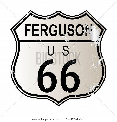 Ferguson Route 66 traffic sign over a white background and the legend ROUTE US 66