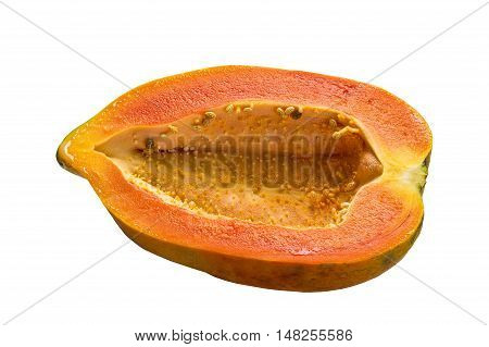 Half-cleaved papaya isolated on white background and clipping path