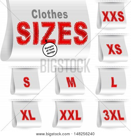 Clothes size labels with standard designation symbols of garment dimensions for customers - XXS XS S M L XL XXL XXXL; Font of symbols has design embroidered from threads; White vector set Eps10