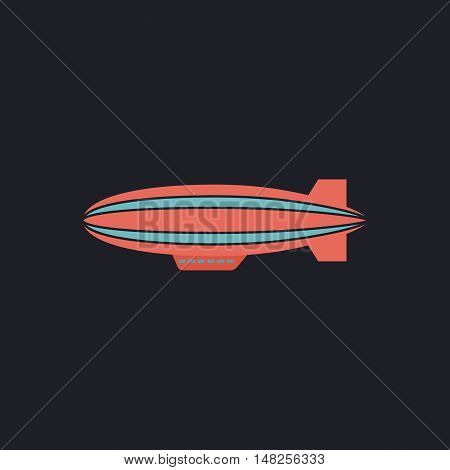 blimp Color vector icon on dark background