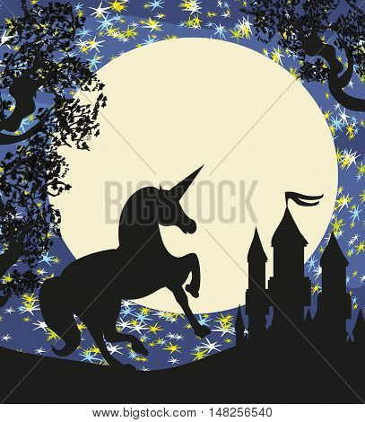 Castle and Unicorn silhouette at night  , vector illustration
