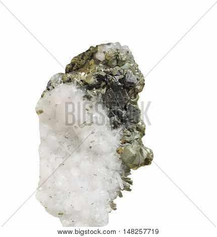 Mineral, quartz, calcite and pyrite , isolated on white background
