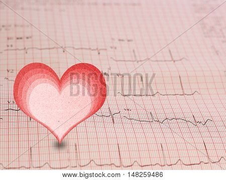 EKG - Electrocardiogram graph and heart shape, ekg heart rhythm, medicine concept