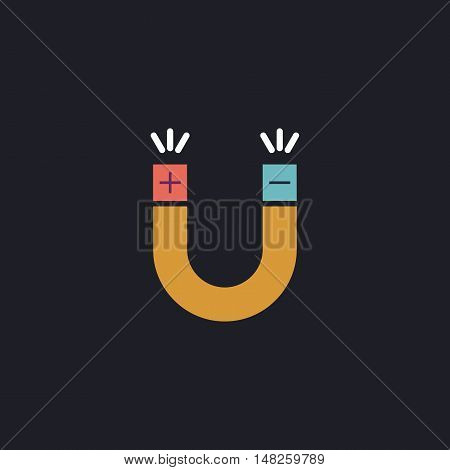 Magnet Color vector icon on dark background