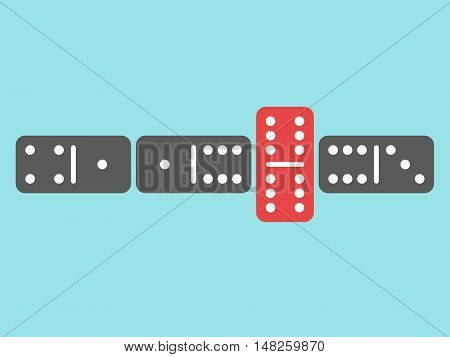 Domino game with one red unique tile on blue background. Uniqueness creativity and individuality concept. Flat design. Vector illustration. EPS 8 no transparency