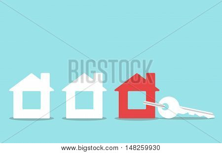 Key with red house shaped trinket in row of white ones on blue background. Real estate home and rent concept. Flat design. Vector illustration. EPS 8 no transparency