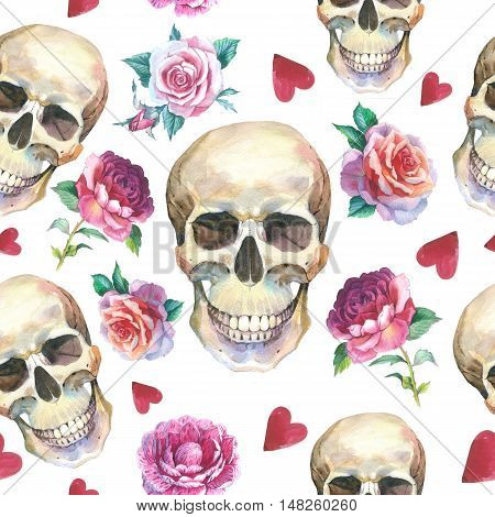 Watercolor tattoo concept pattern with skull element isolated. Tattoo sketch art concept with wildflowers on it. Could be used for tattoo, sticker, background, texture, pattern, frame or border.