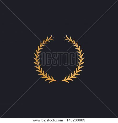laureate wreath Color vector icon on dark background