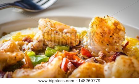 Selective focus Shrimp and grits a low country southern cuisine favorite