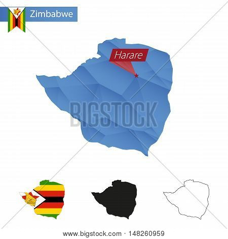 Zimbabwe Blue Low Poly Map With Capital Harare.