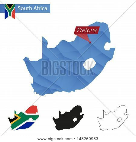 South Africa Blue Low Poly Map With Capital Pretoria.