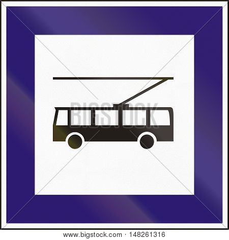 Road Sign Used In Hungary - Trolley Bus Stop