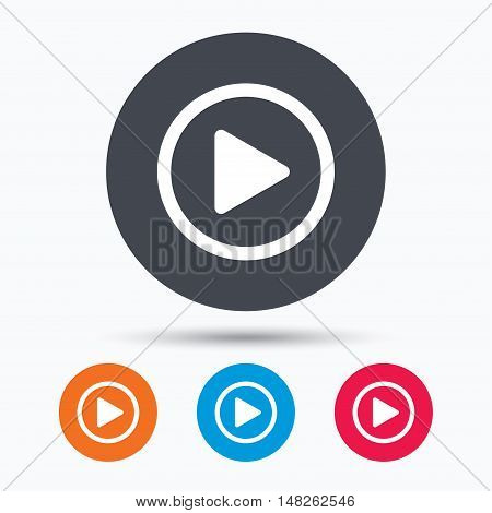 Play icon. Audio or Video player symbol. Colored circle buttons with flat web icon. Vector
