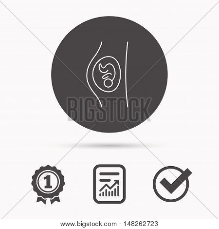 Pregnancy icon. Medical genecology sign. Obstetrics symbol. Report document, winner award and tick. Round circle button with icon. Vector