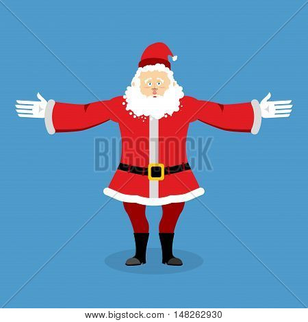 Happy Santa Claus Spread His Arms In An Embrace. Jolly Christmas Character. Lovely Kind Grandfather