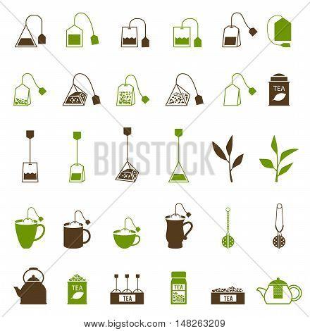 Coffee and Tea cup icon. Teapot and tea bag, tea ceremony. Fresh tea and green leaves.