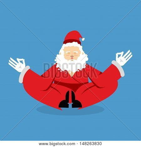 Santa Meditating. Christmas Yoga. Status Of Nirvana And Enlightenment. Grandfather With Beard In Red