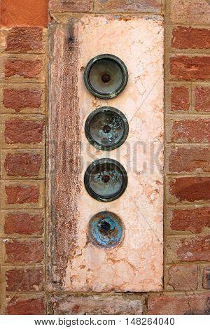 Four Door Bells at House in Venice