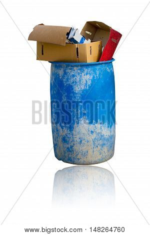 Old trash and debris were left in the old recycle bin isolated on white background.
