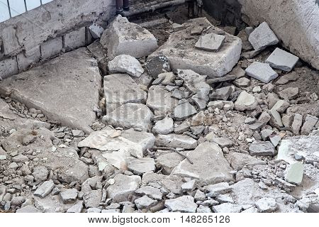 Construction waste - brick wreckage during capital repair