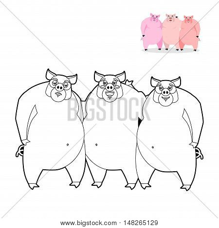 3 Pig Coloring Book. Three Little Pigs In  Linear Style. Funny Farm Animals. Good Character From Fai