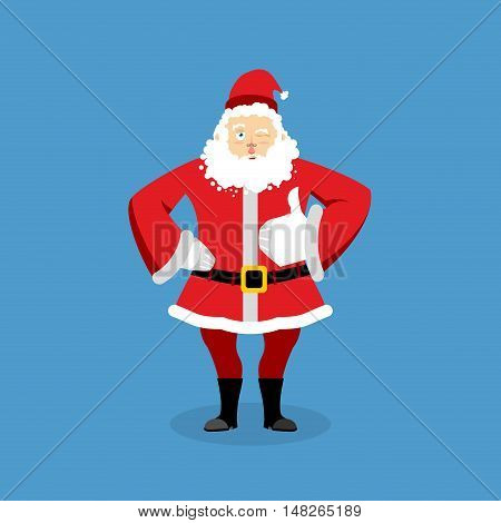 Santa Claus Thumbs Up Well And Winks. Sign All Right. Merry Christmas Character. Hand Showing Ok. Ge