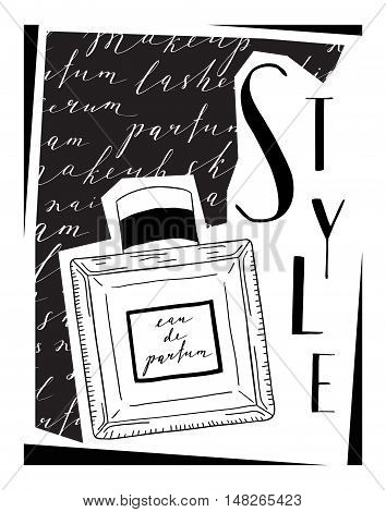Card about cosmetics, with the image of parfume. With the word lettering style.