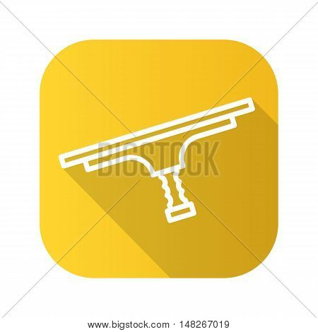 Tool for window cleaning flat linear long shadow icon. Vector line symbol of squeegee.
