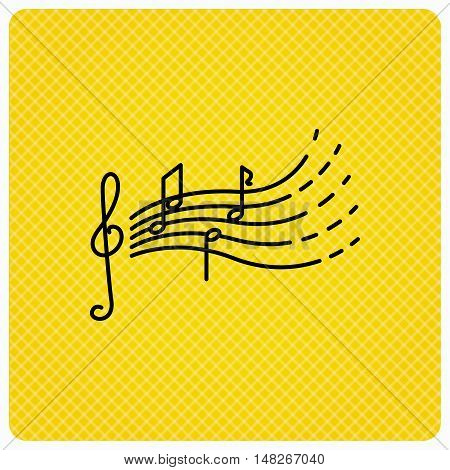 Songs for kids icon. Musical notes, melody sign. G-clef symbol. Linear icon on orange background. Vector