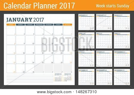Calendar Planner Template for 2017 Year. Week Starts Sunday. 3 Months on Page. Set of 12 Months. Place for Notes. Stationery Design. Vector Calendar Template