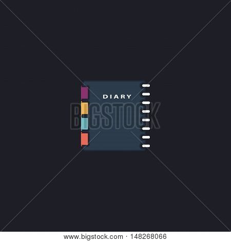 copybook Color vector icon on dark background
